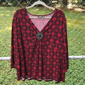 Apt 9 black and red blouse